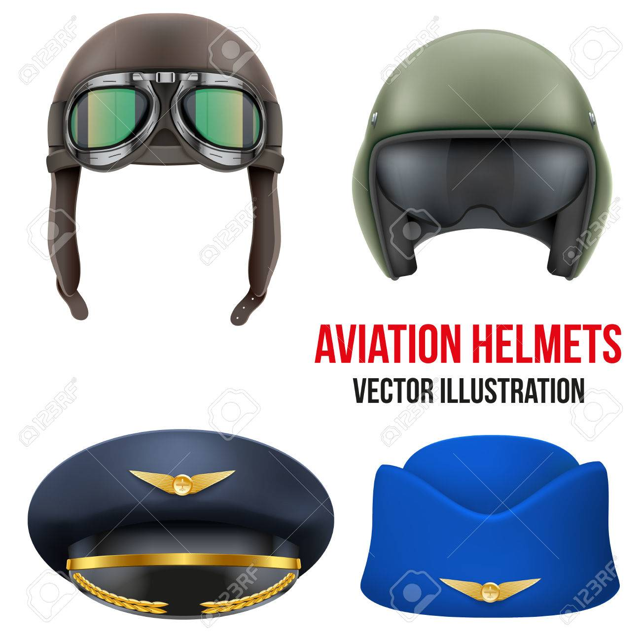 4ab44b7c7d Imagens - Retro aviator pilot leather helmet with goggles. Vintage object.  Vector Illustration. Isolated on white