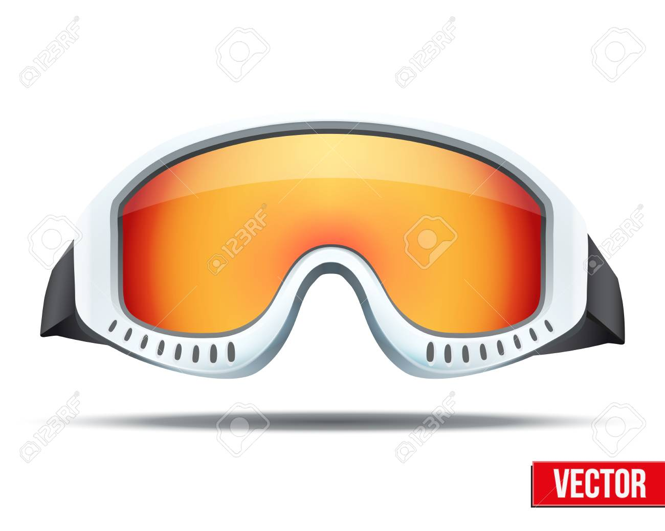 85fb3801424 Classic snowboard ski goggles with colorful glass. Vector isolated on white  background Stock Vector -