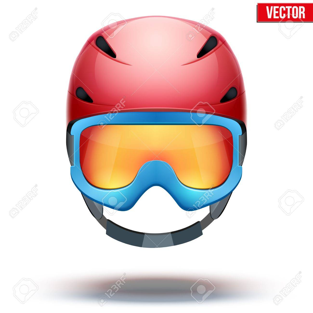 Front View Of Classic Red Ski Helmet And Blue Snowboard Goggles Royalty Free Cliparts Vectors And Stock Illustration Image 32126214