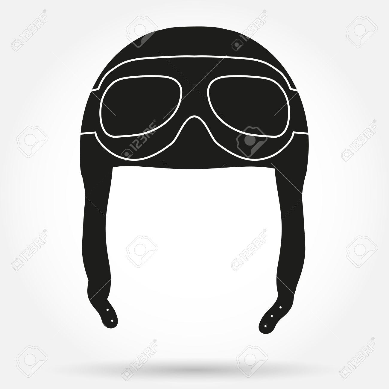 a21e86c909ad39 Silhouet symbool van Retro aviator piloot lederen helm met bril. Eenvoudige  vector illustratie geïsoleerd op