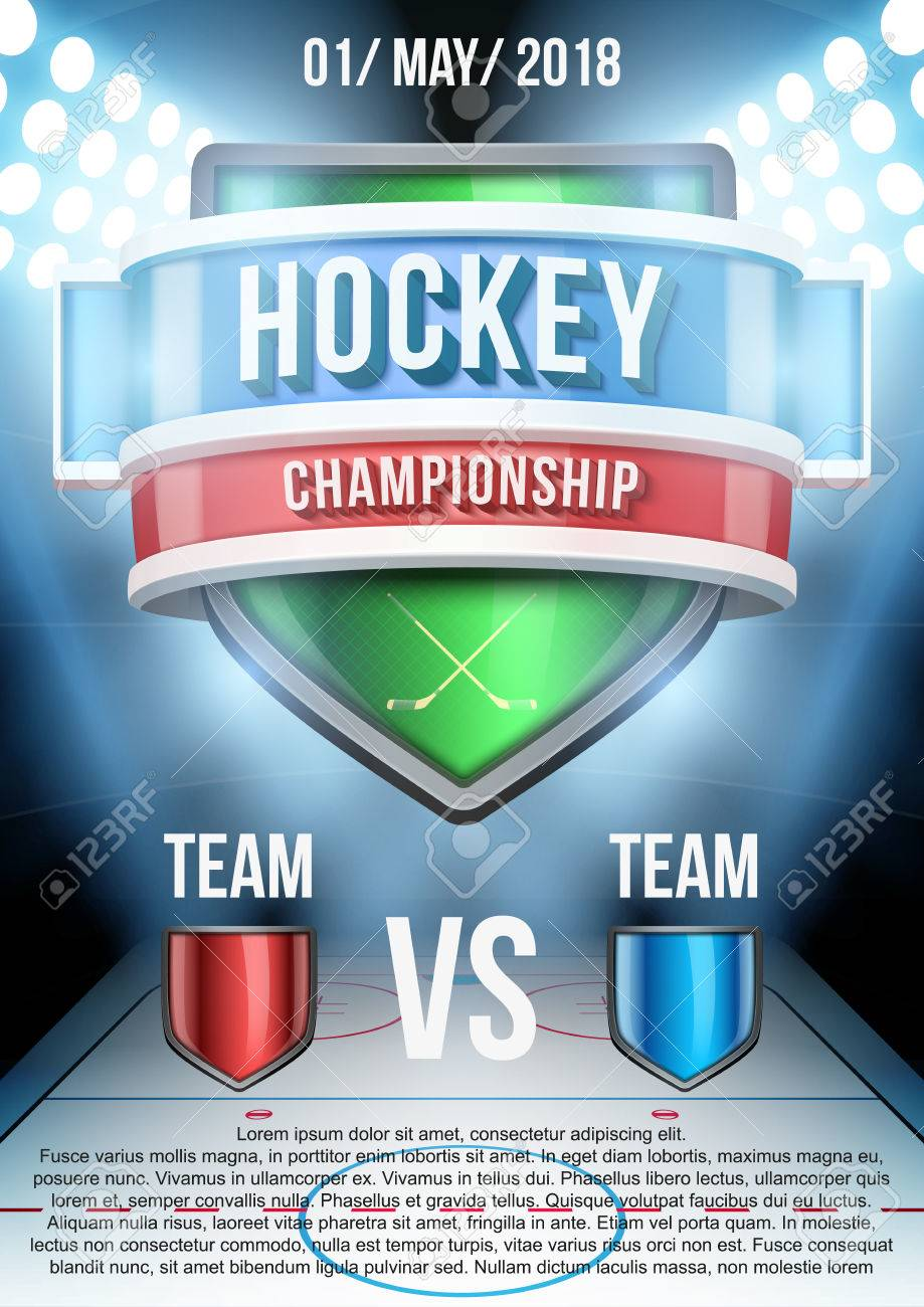 Background For Posters Ice Hockey Stadium Game Announcement Stock Vector