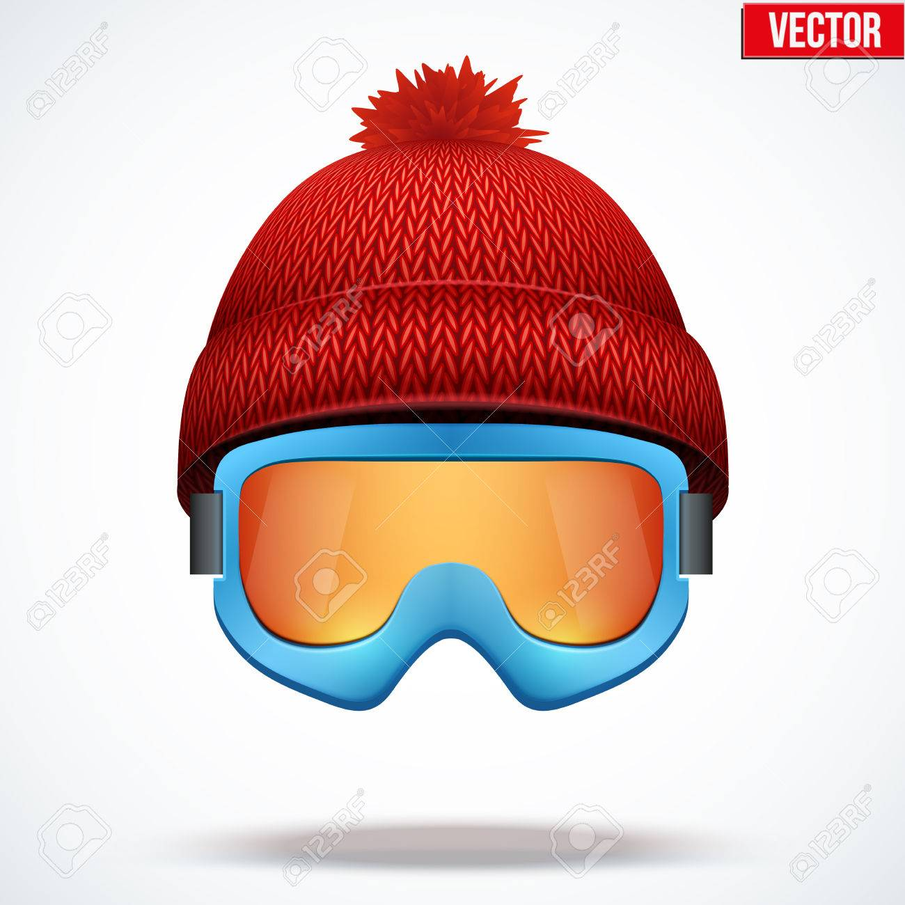 0882e34b5e53 Knitted woolen red cap with snow ski goggles. Winter seasonal sport hat.  Vector illustration