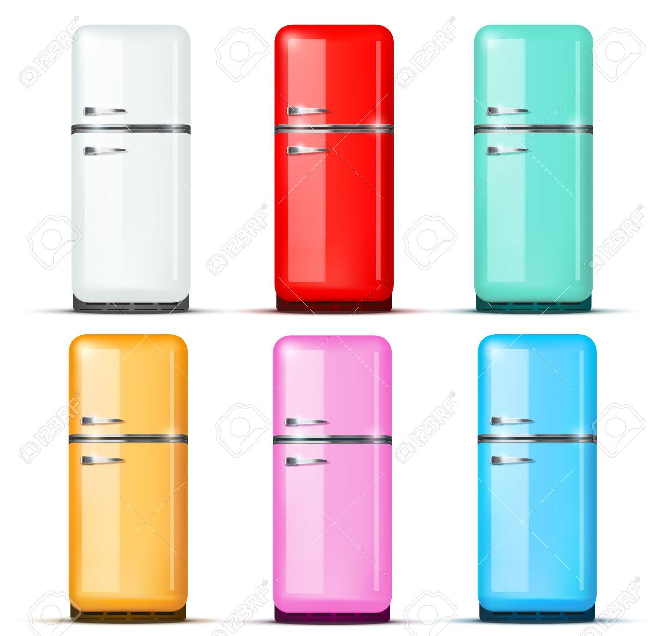 Ensemble De Rétro Frigo Réfrigérateur Dans La Couleur Blanche
