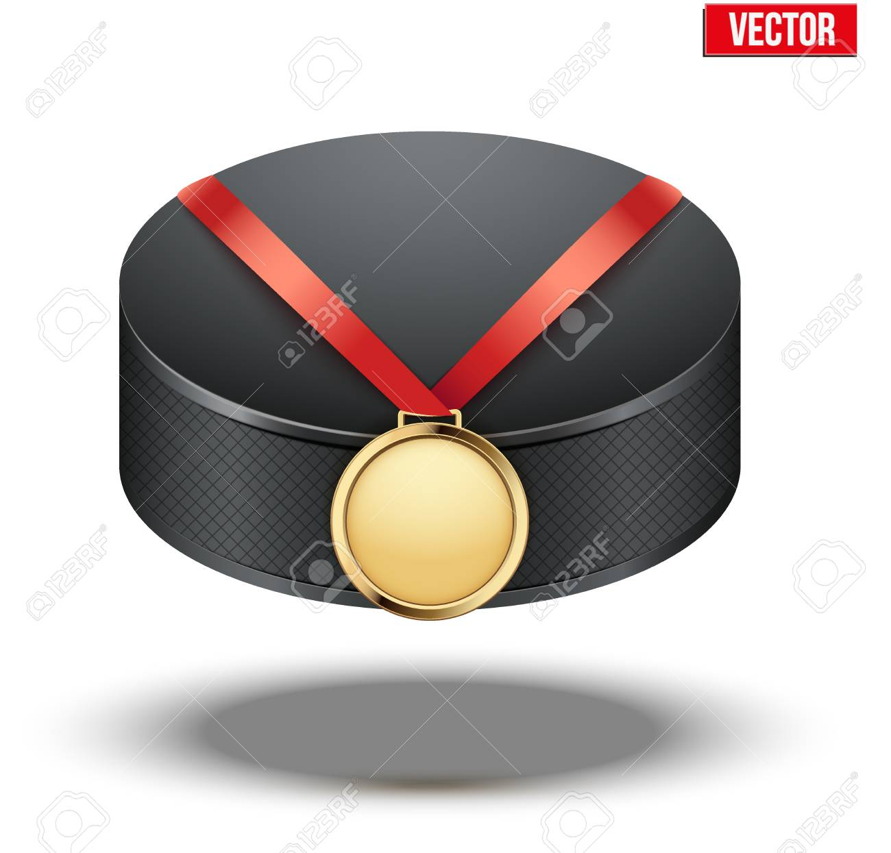 Sport gold medal with ribbon for winning the ice hockey hangs