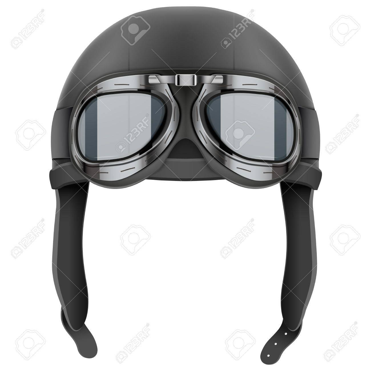 Banque d images - Rétro casque en cuir aviateur pilote avec des lunettes.  Objet Vintage. Illustration isolé sur blanc 53db510cffb0
