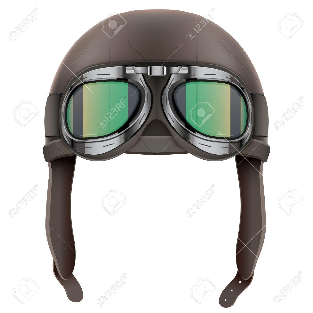 1c7049fc57 Casco retro de cuero piloto aviador con gafas. Objeto de la vendimia.  Ilustración aislado