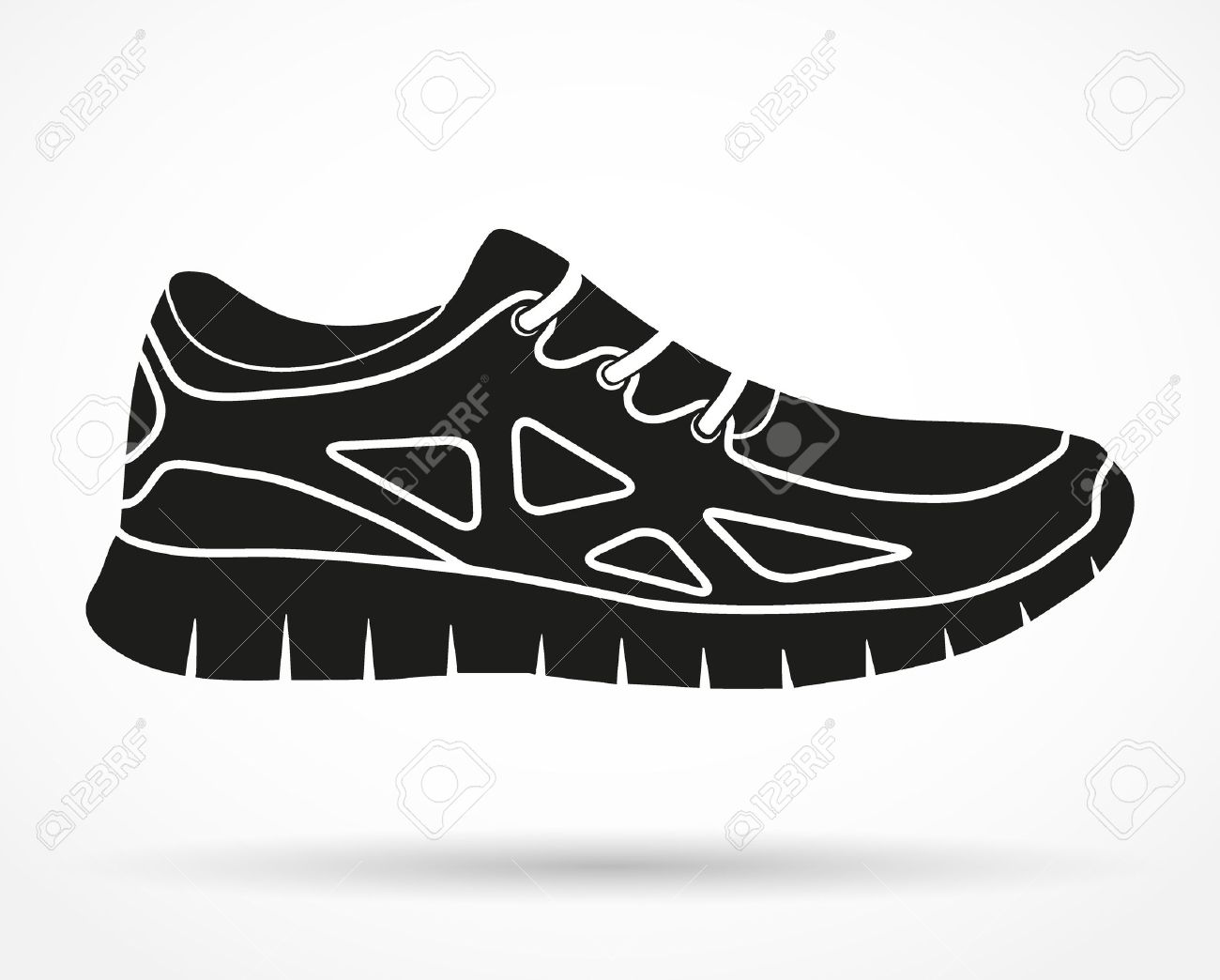 silhouette symbol of shoes running and fitness sneakers original rh 123rf com running shoe vector image running shoe sole vector