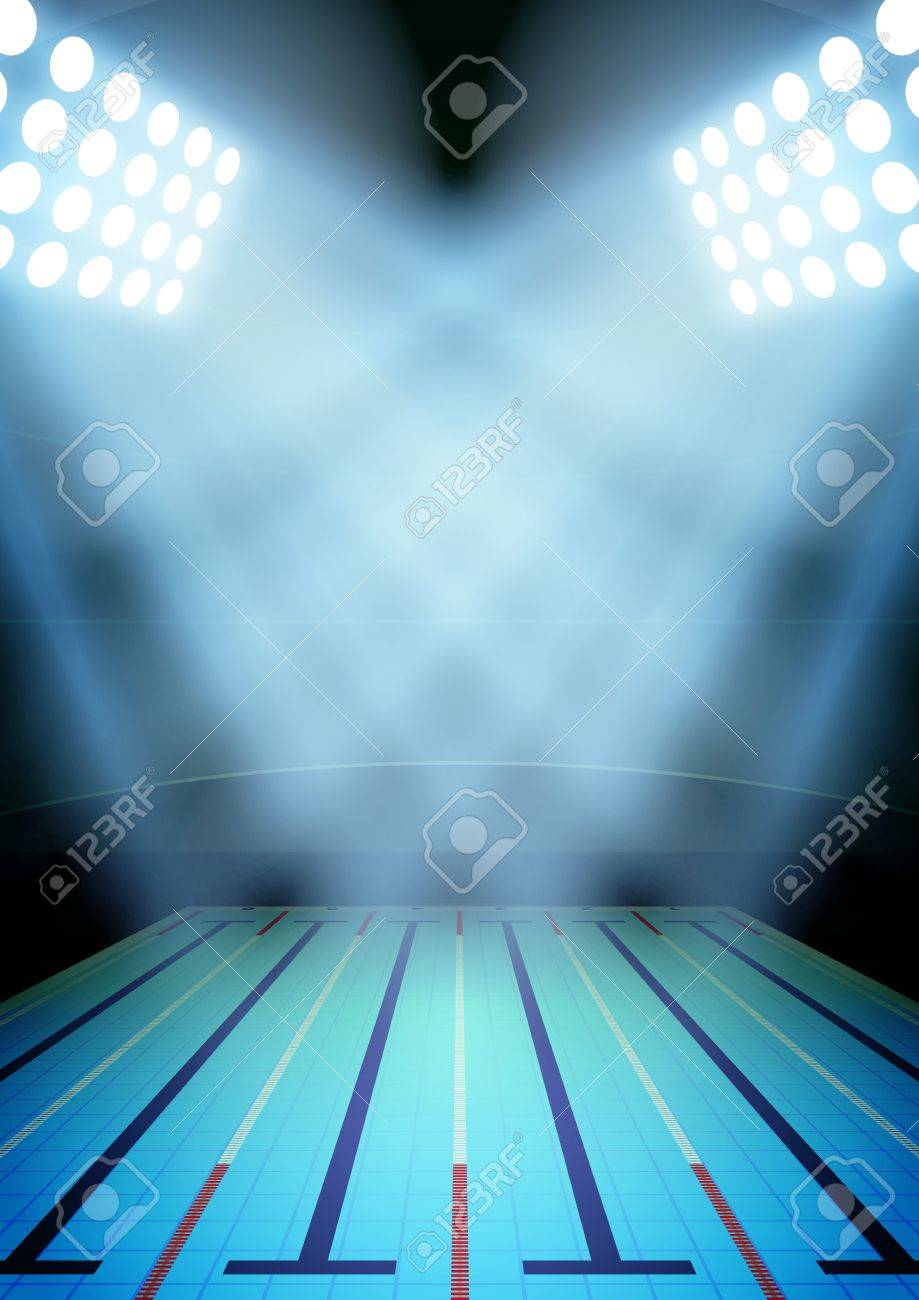 Vertical Background for posters night swimming pool stadium in..