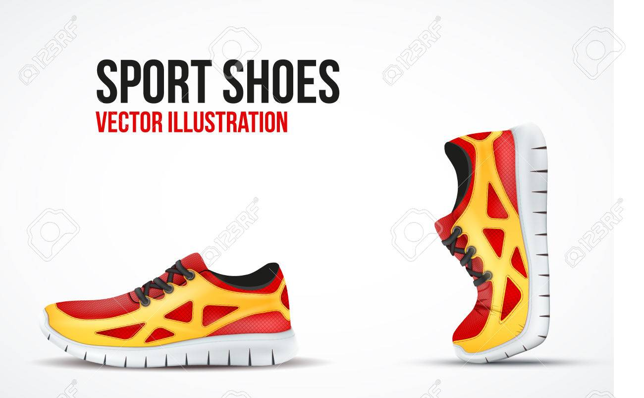 Background of Two Running shoes. Bright Sport sneakers symbols. Vector illustration. - 37724015