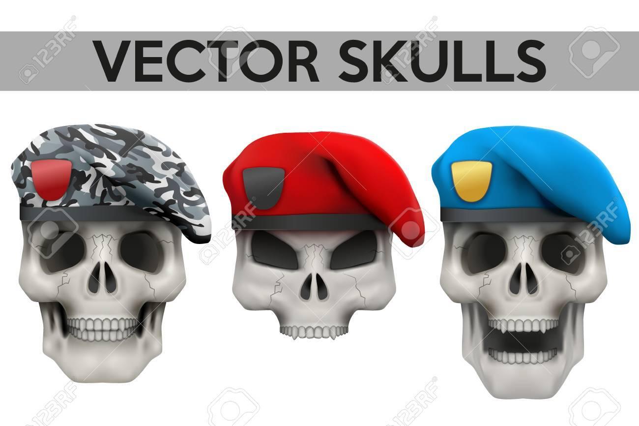 ebc77602829b3 Conjunto de vector humano cráneos con boinas militares en la ilustración de  la cabeza aislada en