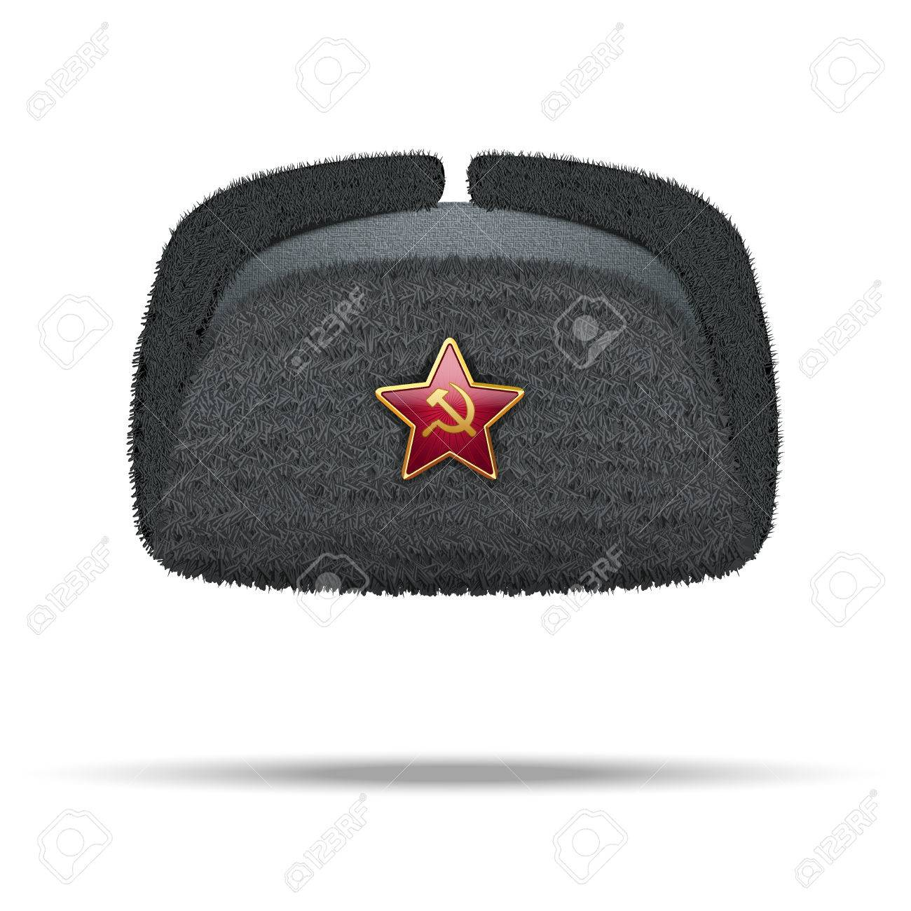 542f3c058fc Russian black fur winter hat ushanka with red star Illustration isolated on  white background. Stock