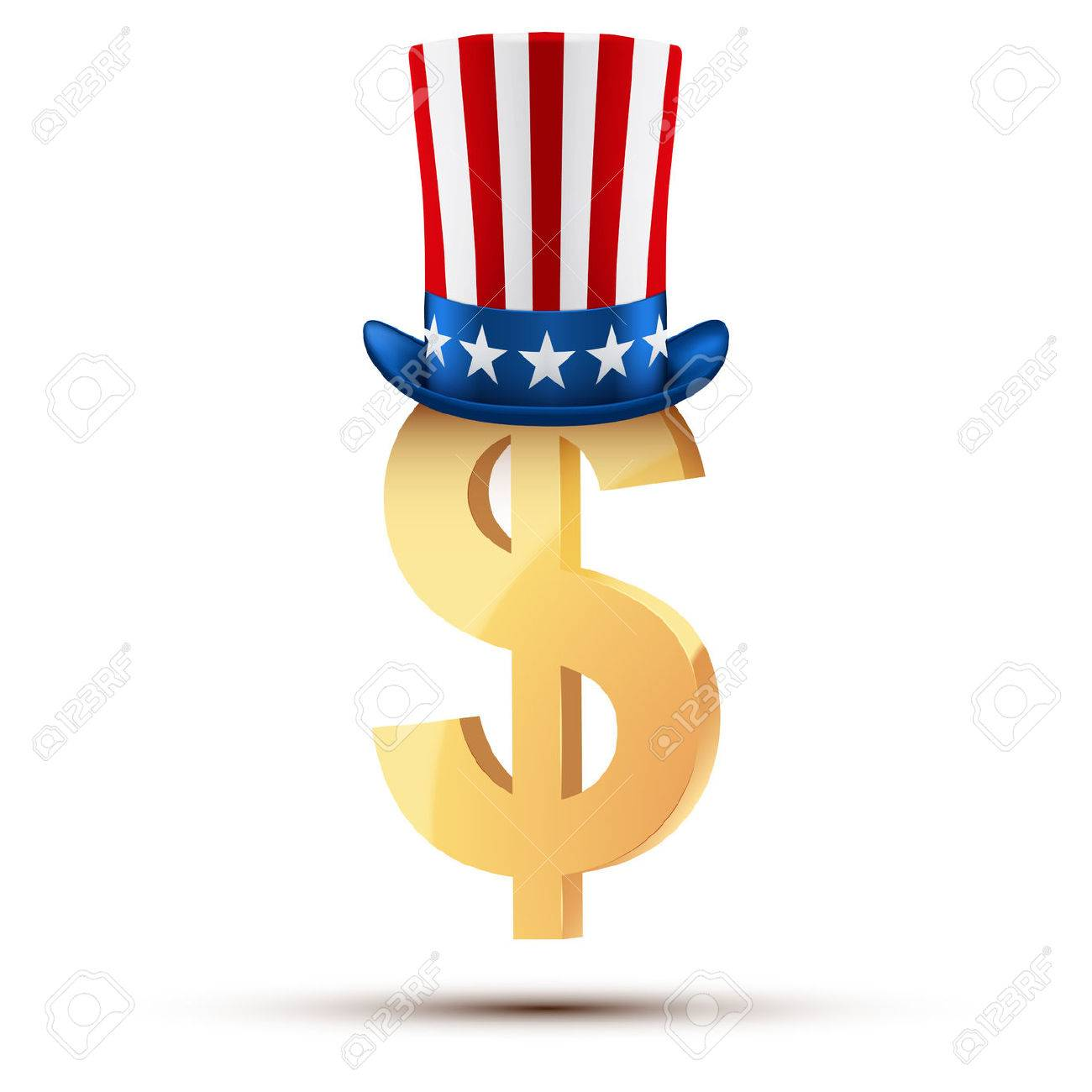Symbol Of The American Dollar In Uncle Sam Hat Stock Photo Picture