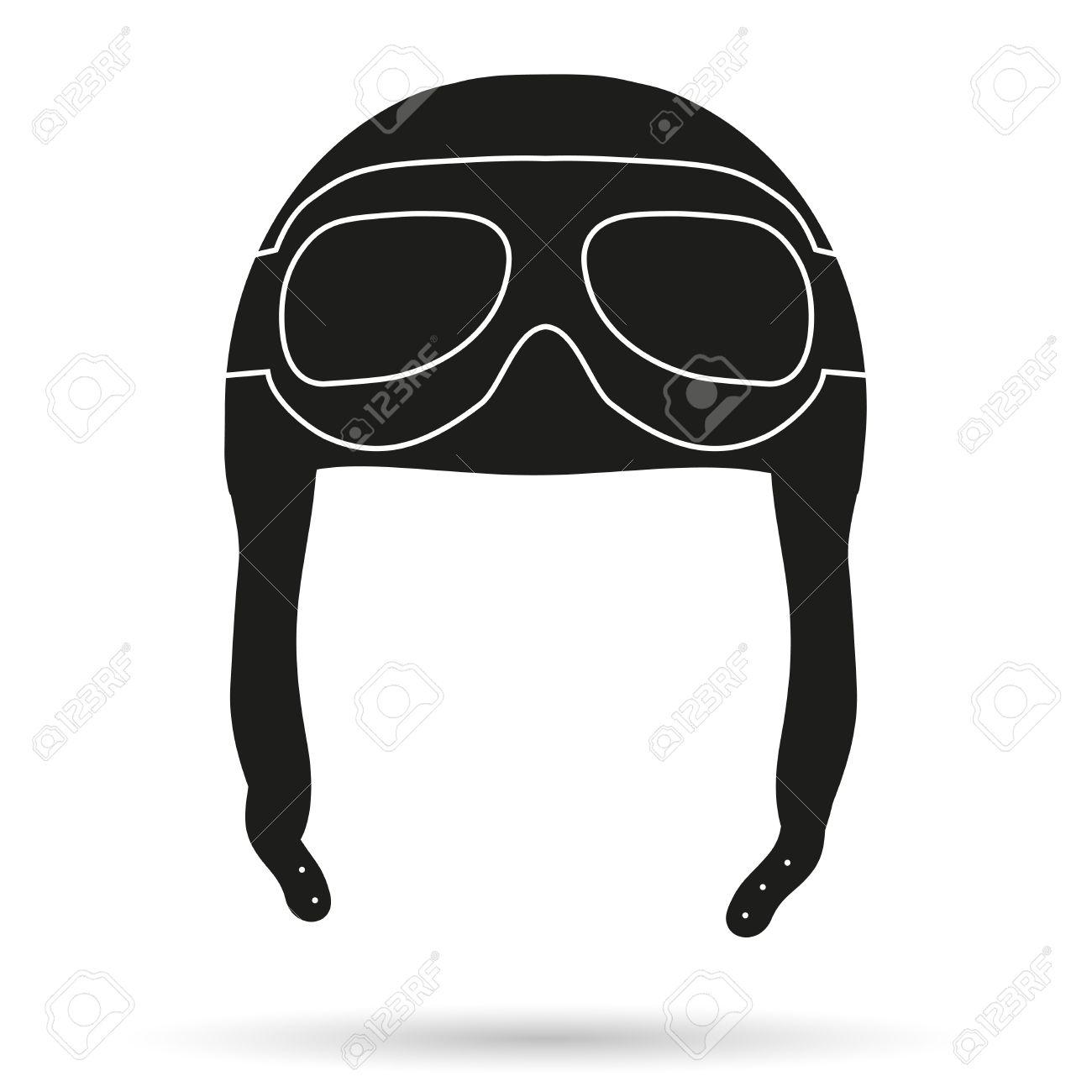 b8f3d8ff2ea547 Silhouet symbool van Retro vliegenier piloot leder helm met bril. Illustratie  geïsoleerd op wit Stockfoto