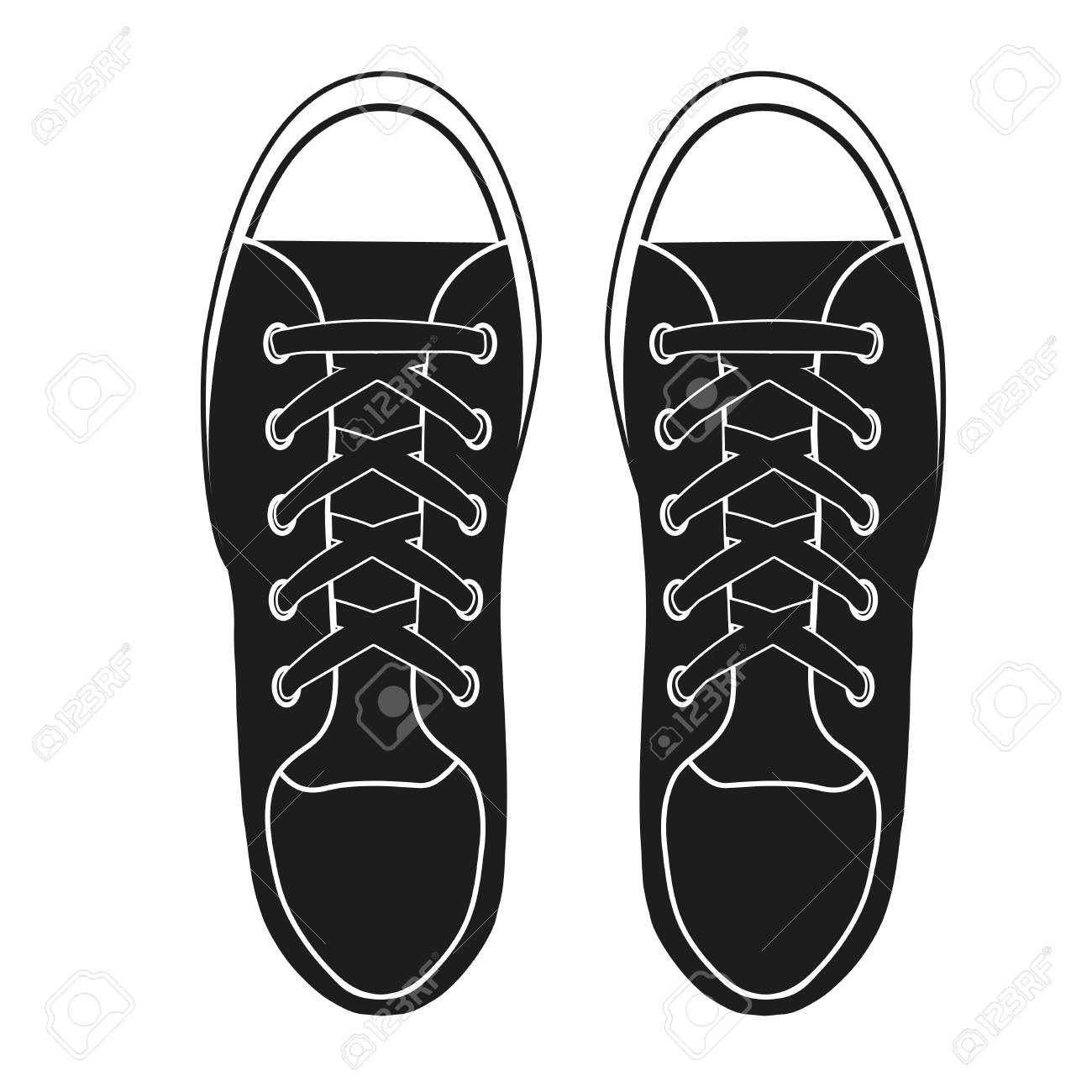 Silhouette Simple Symbol Of Gumshoes Example Sneakers Realistic
