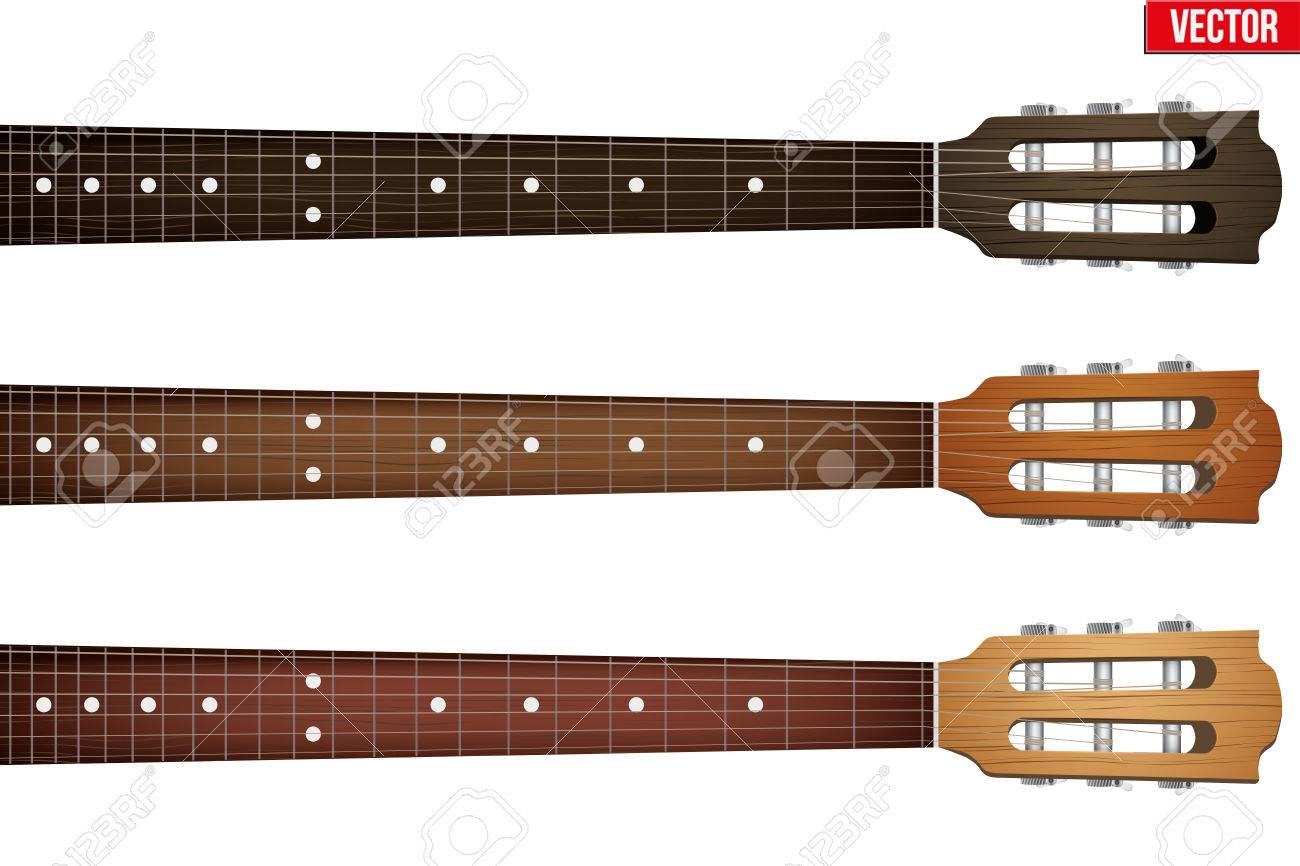 Set of Classic Guitars neck fretboard and headstock. Vector Illustration isolated on white background. - 45713152