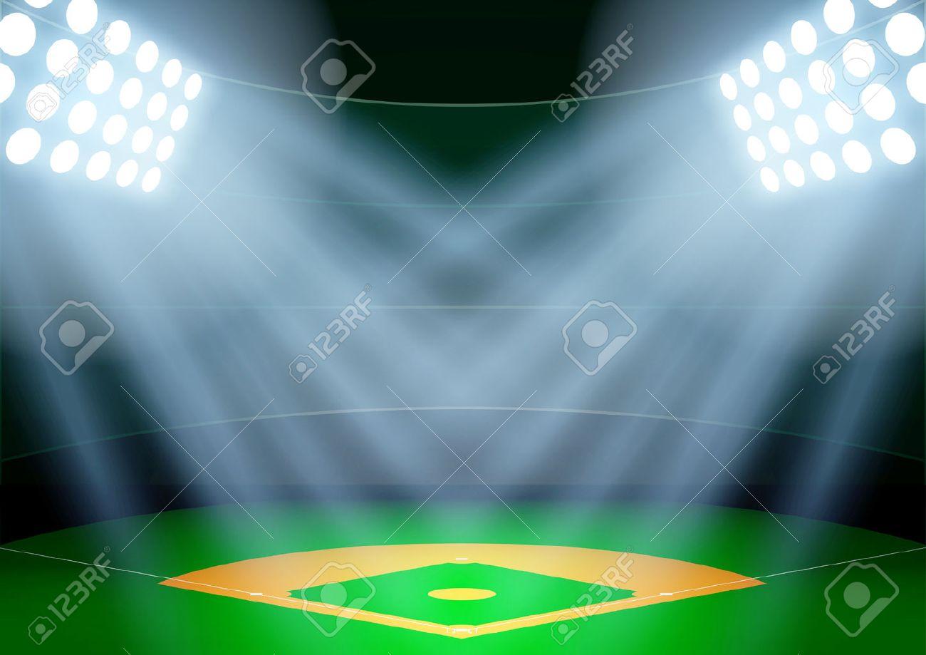 Horizontal Background for posters night baseball stadium in the spotlight. Editable Vector Illustration. - 45713185