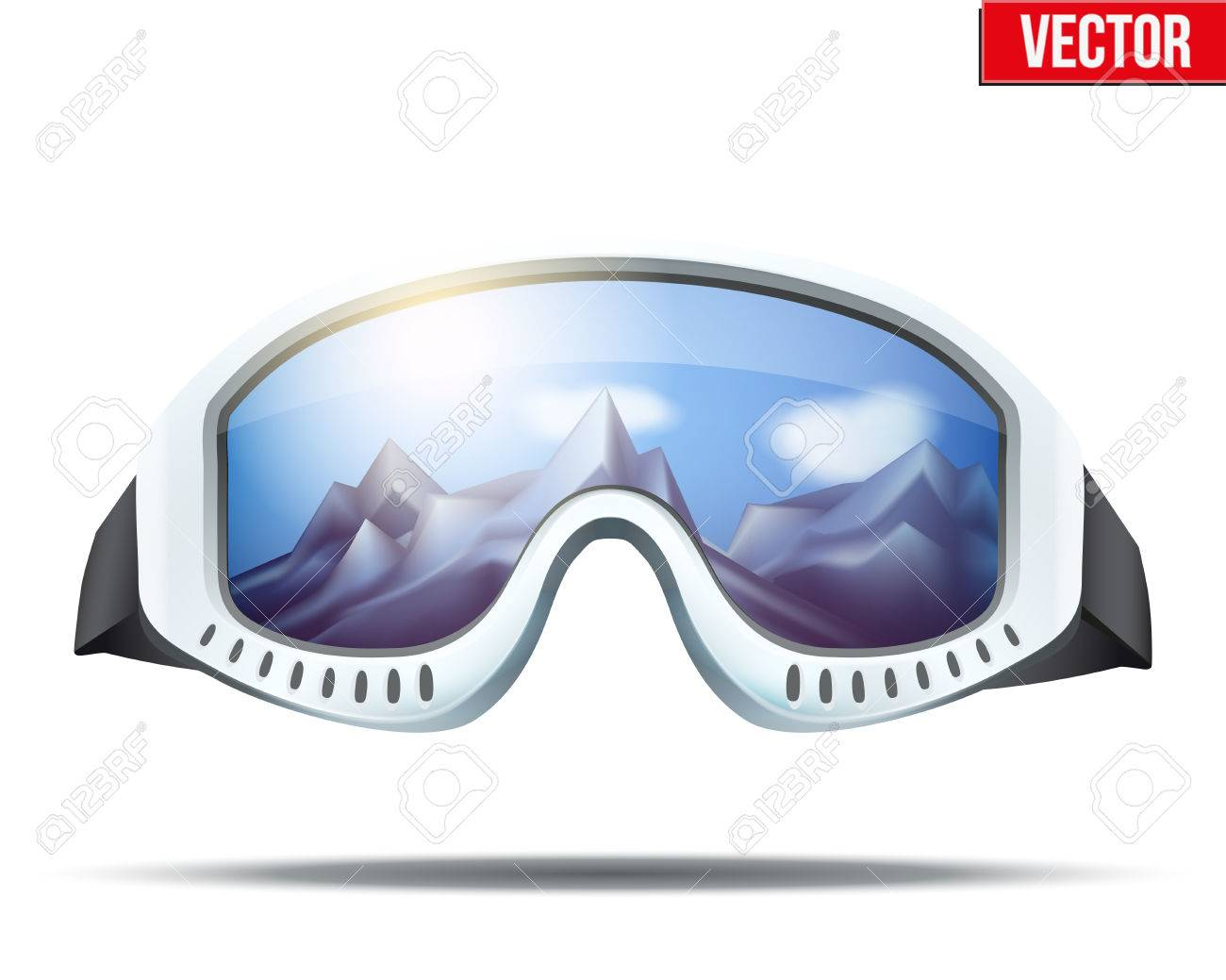 3542d9fe384 Classic vintage old school ski goggles with glass reflecting the winter  mountains. Vector isolated on