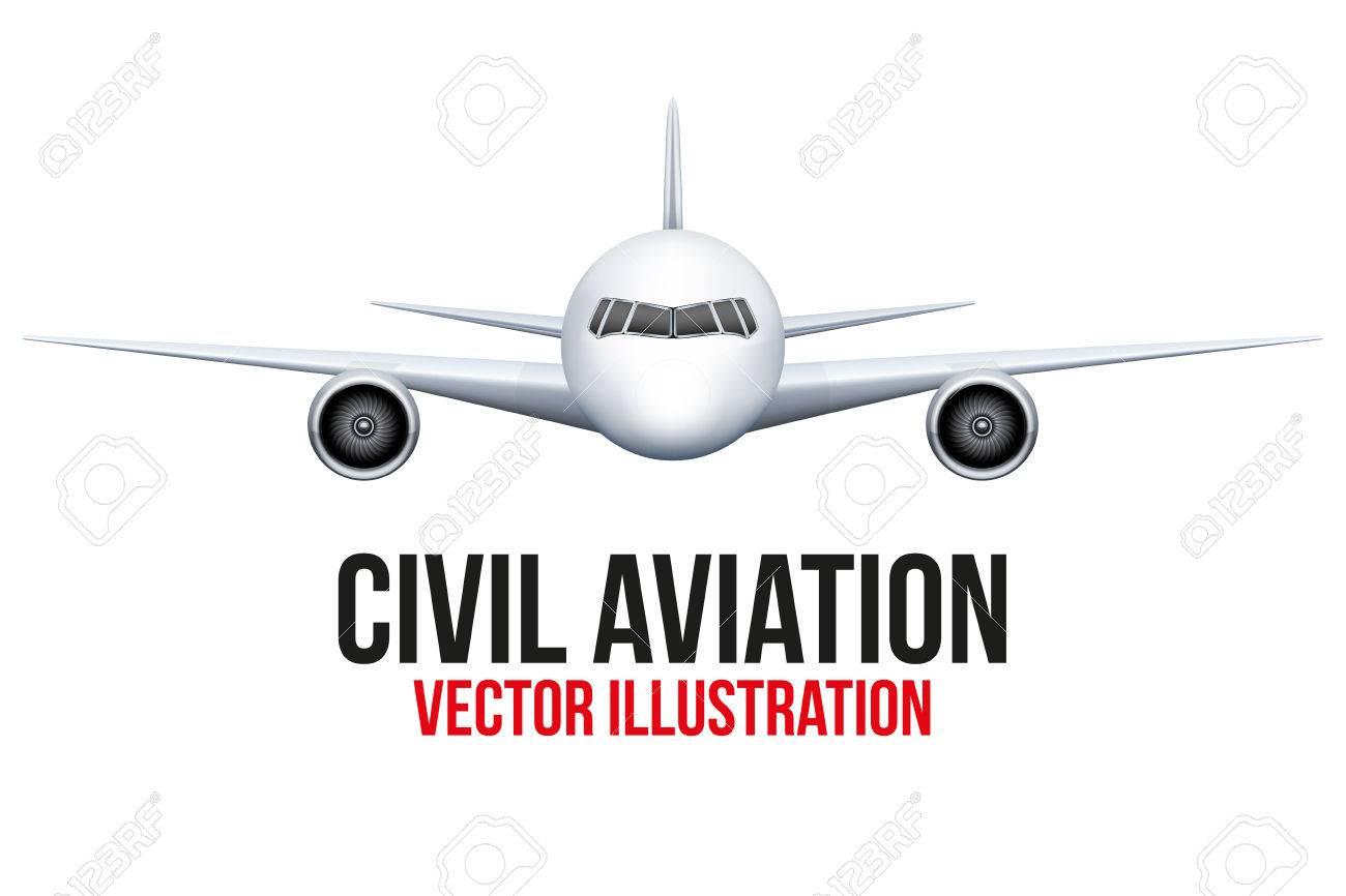 民間航空機の正面ベクトル イラスト背景に分離されましたのイラスト