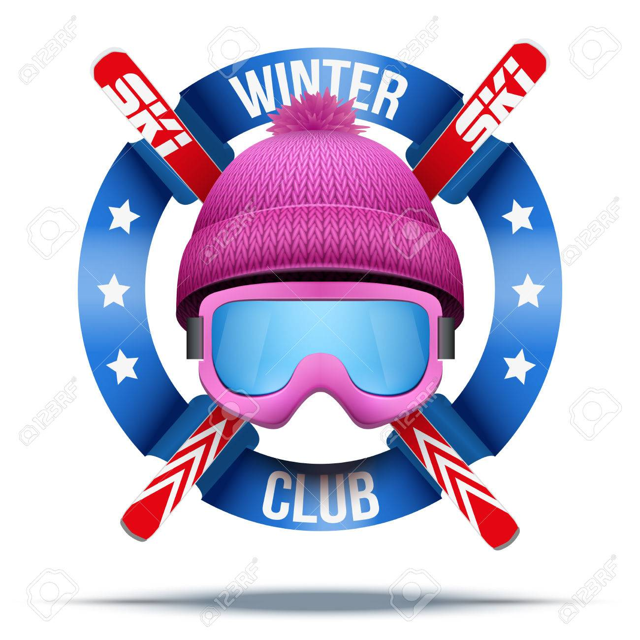 62f060dac8b5 Ski club or team. Symbols of winter woolen hat and ski with ribbon. Vector