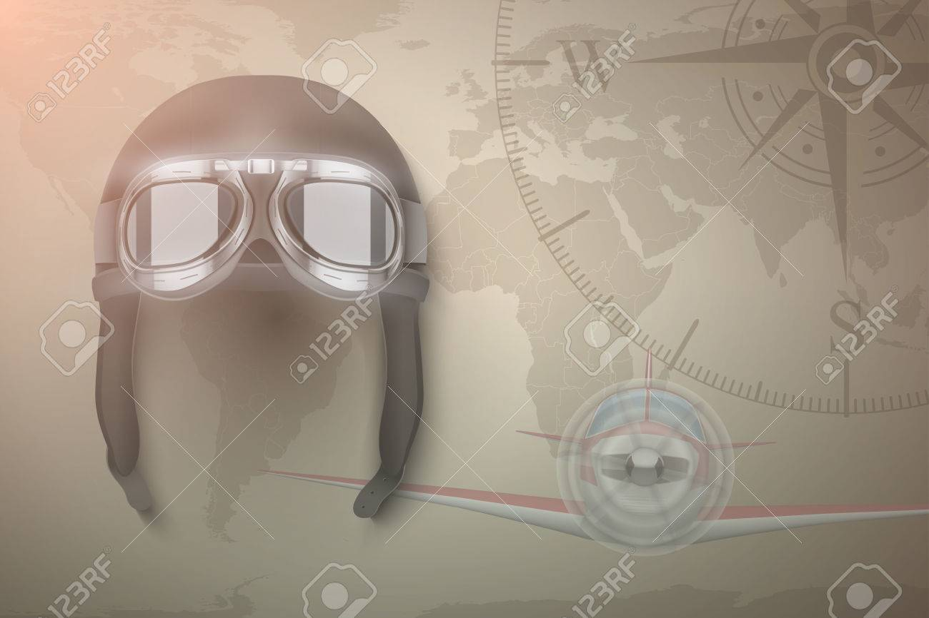 2aa3e57ee0 Background of Aviator and light aircraft. Helmet on map. Editable Vector  Illustration. Stock