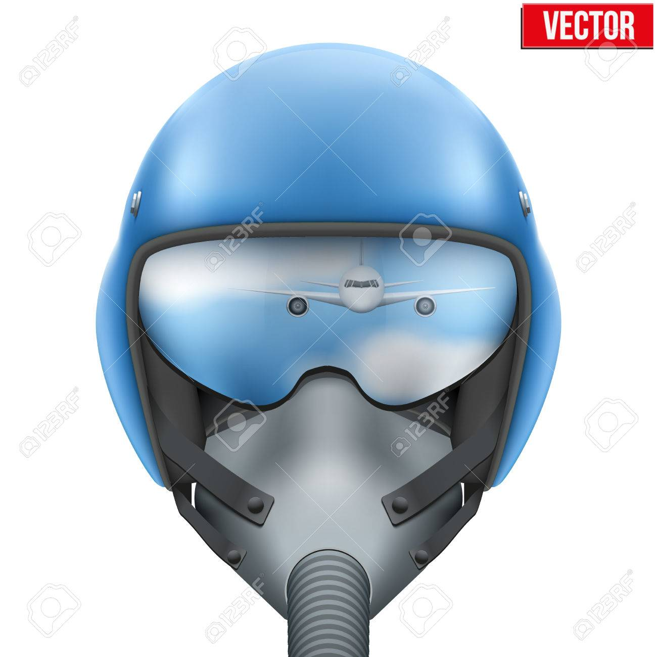 ea7c46513e Military flight fighter pilot blue helmet of Air Force with oxygen mask.  illustration isolated on