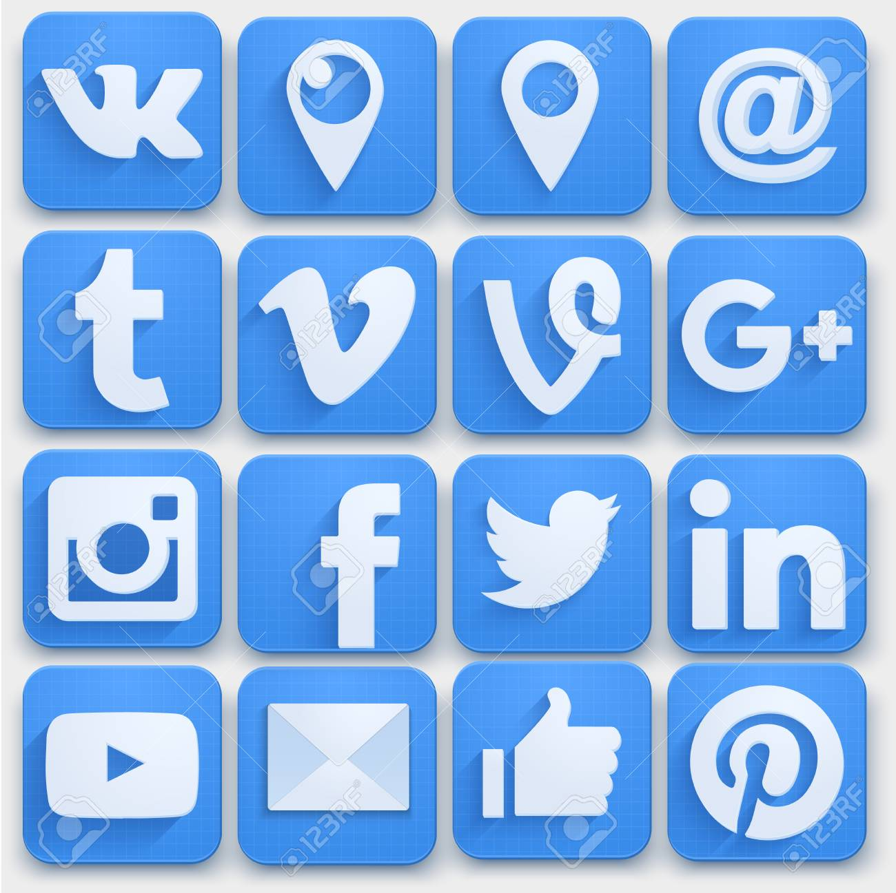 Set of Social media icons networking. Premium style. Vector llustration. - 51284336