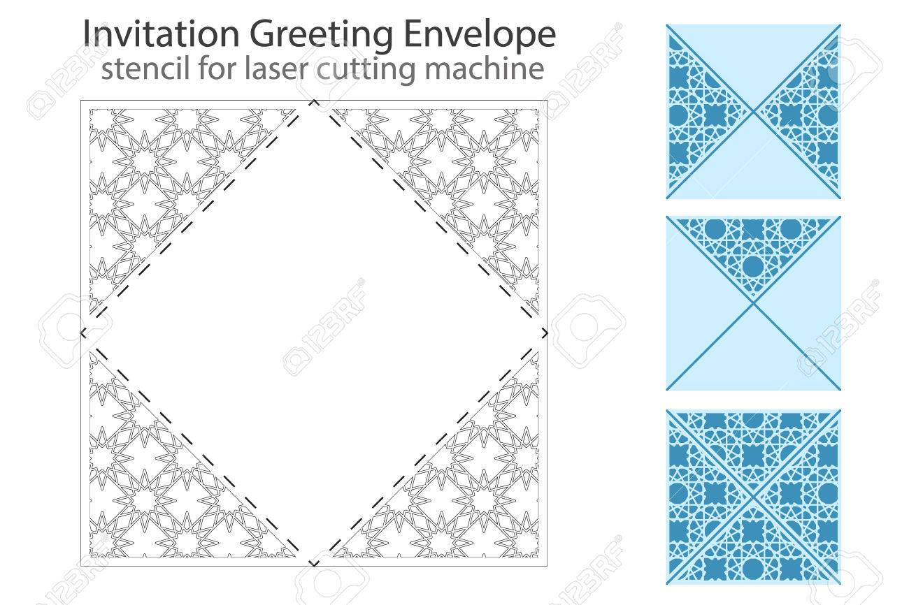 Envelope Template For Laser Cutting. Square Format. Die Of Wedding ...