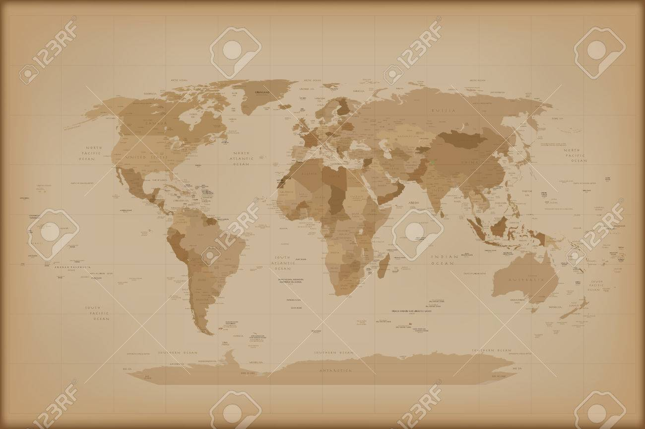 Vintage world map vector illustration isolated on white background vintage world map vector illustration isolated on white background stock illustration 55771229 gumiabroncs Image collections