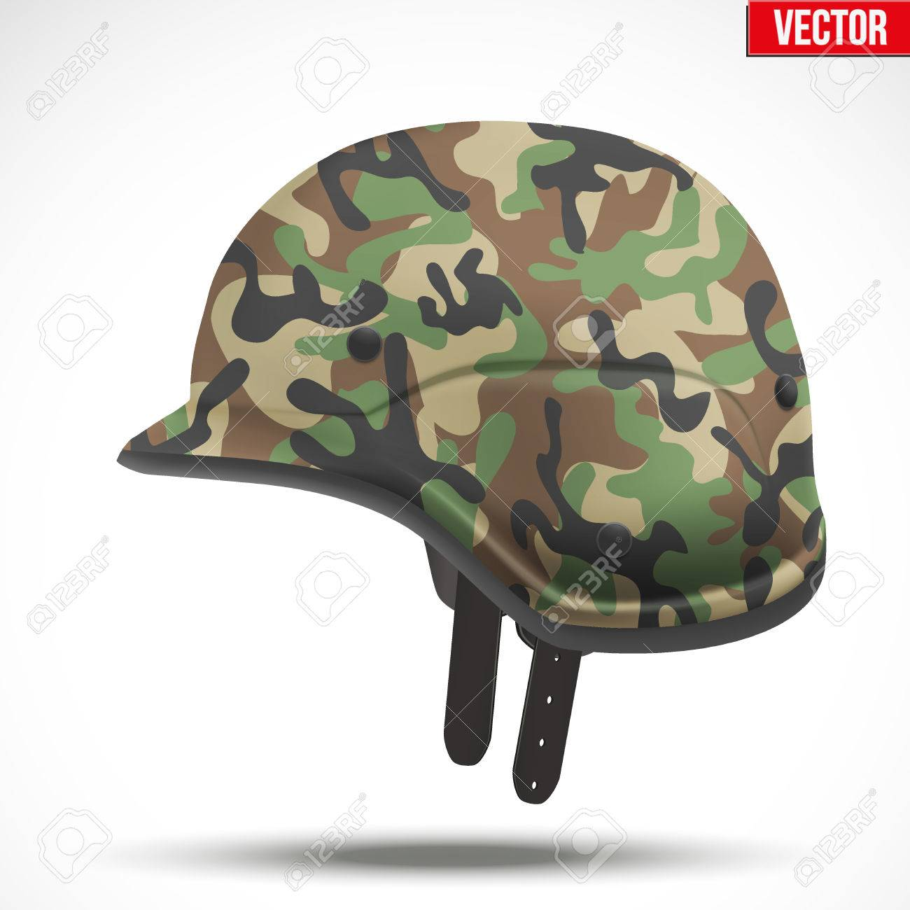 Military modern camouflage helmet  Side view  Army symbol of