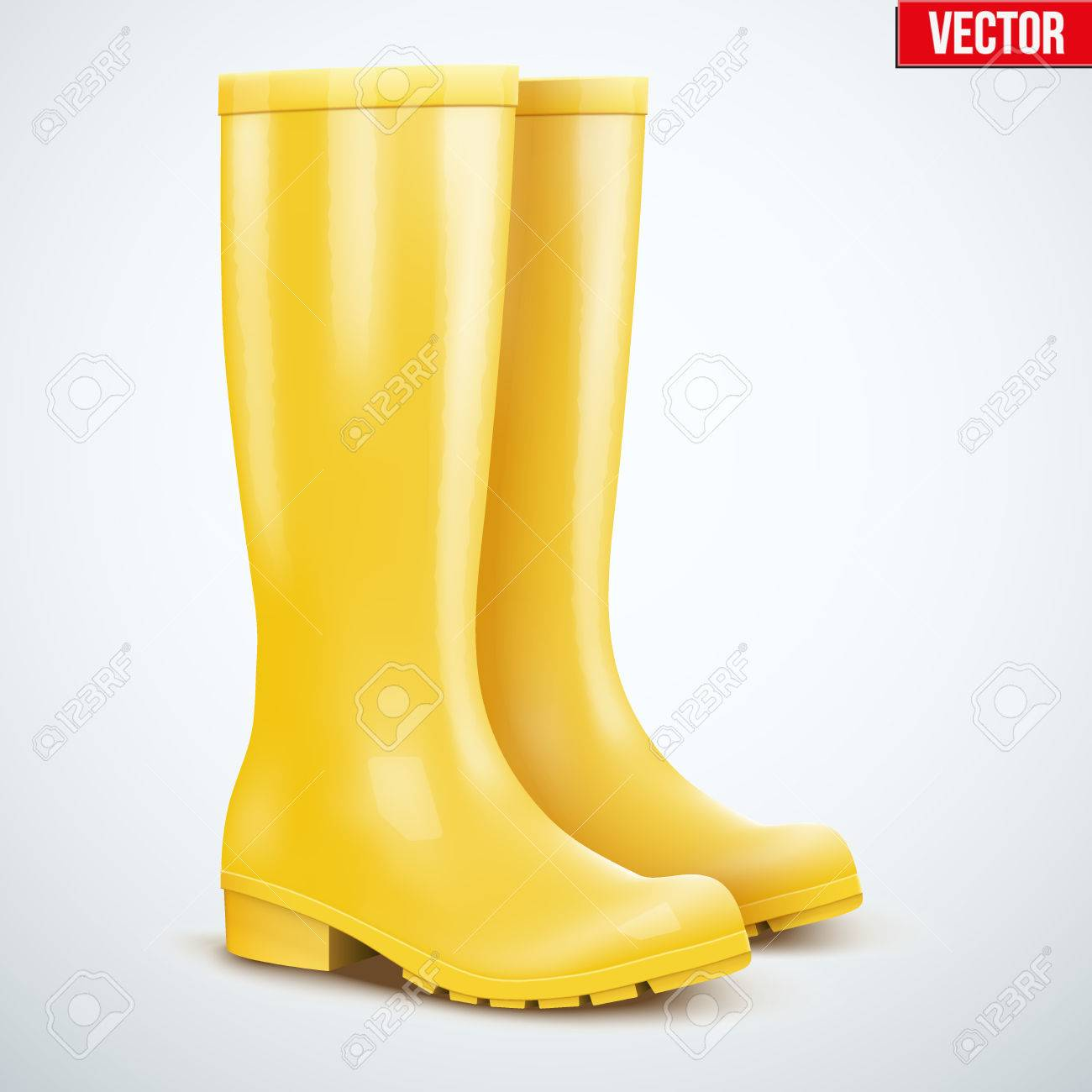 b8fd48d32c Pair of yellow rubber rain boots. Symbol of autumn and weather. Vector  illustration Isolated