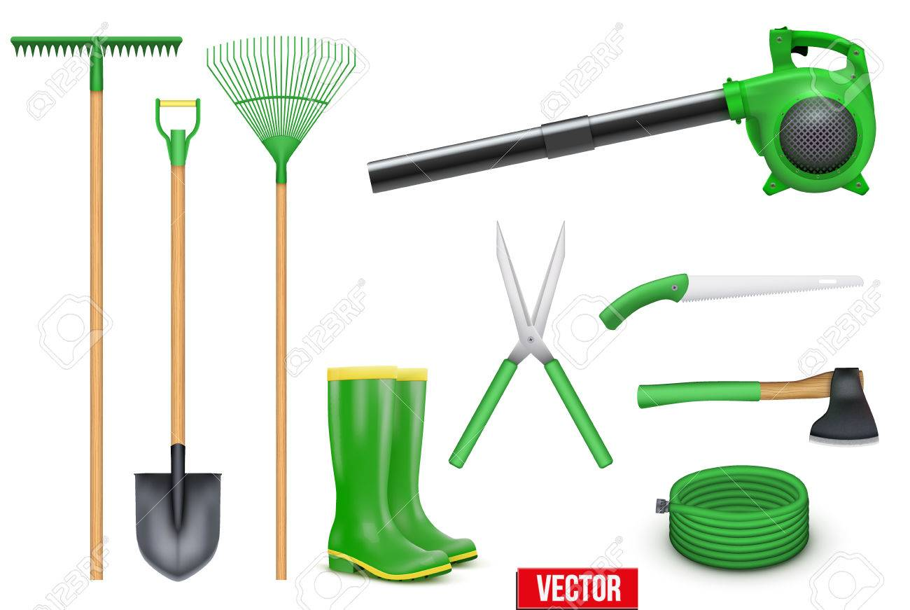 Set Of Necessary Garden Tools Items For The Season. Taking Care Of A Garden  Or