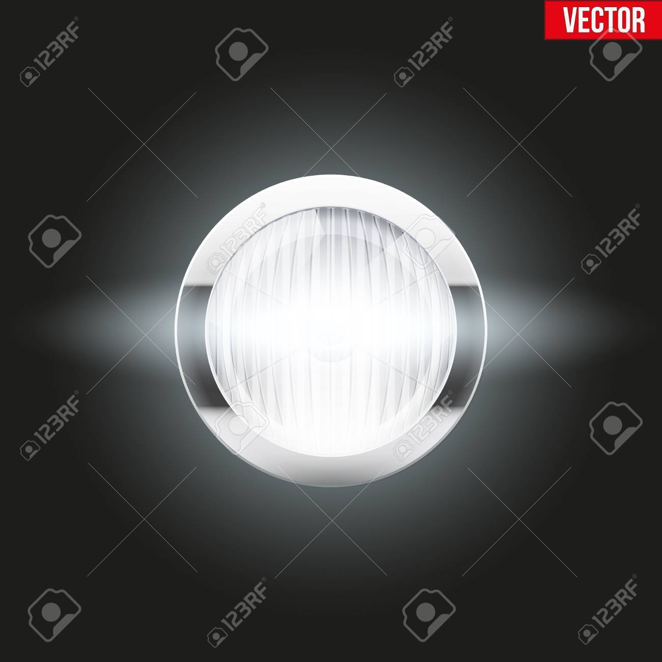 Round Car Headlight Is On. Vintage Illustration Isolated On ... for Car Lamp Vector  153tgx