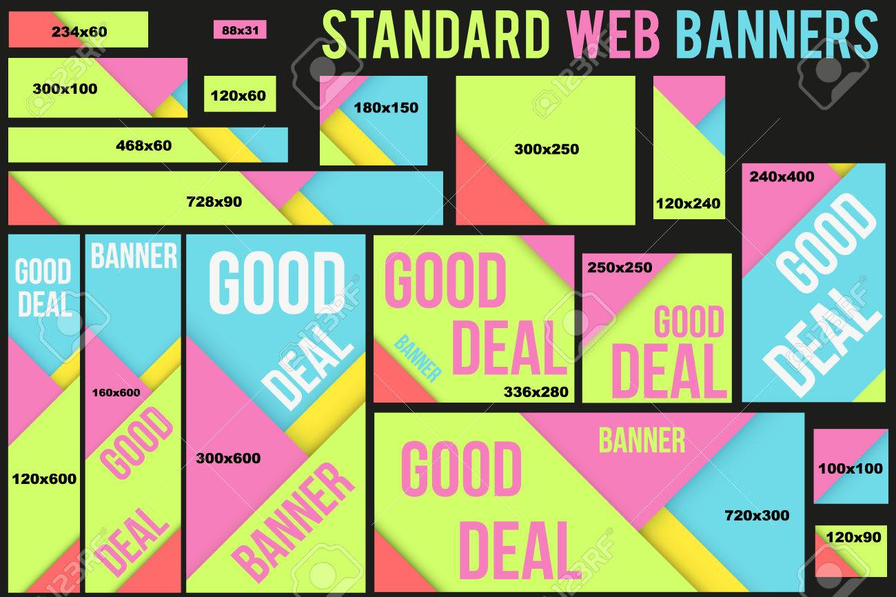 standard size vector web banners templates with futuristic flat