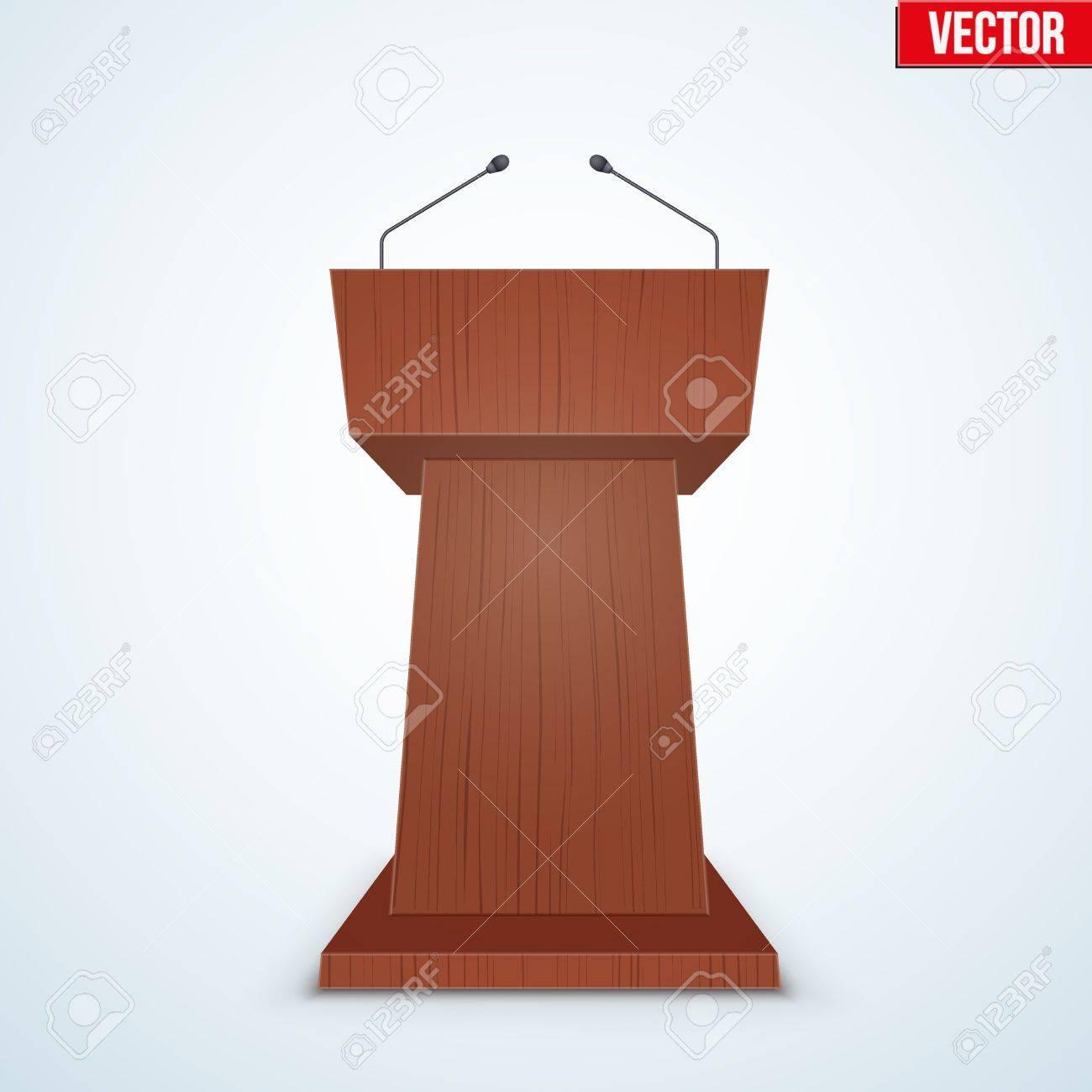 Wooden Podium Speaker Tribune With Microphones. Speech Symbol ...