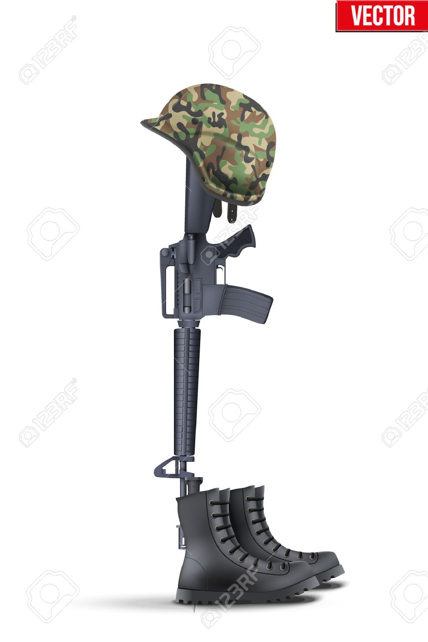 Memorial Battlefield Cross. The symbol of a fallen US soldier. Modern war. Rifle M16 with boots and helmet. Vector Illustration Isolated on white background. - 66708246