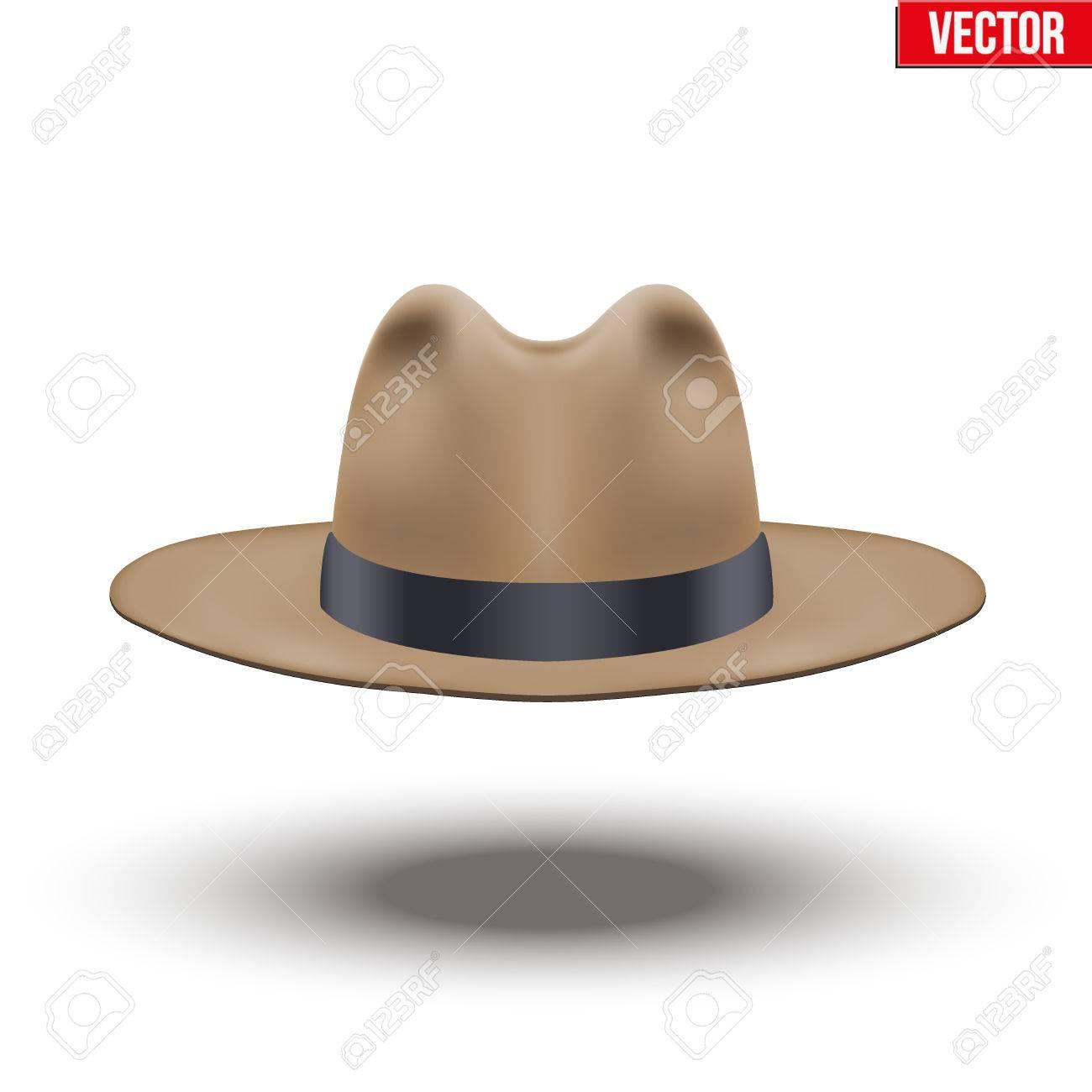 Foto de archivo - Sombrero clásico de los hombres. Color marrón con cinta  negra. Accesorio para el hombre y los caballeros elegantes de la belleza. 8b2cdce6f26