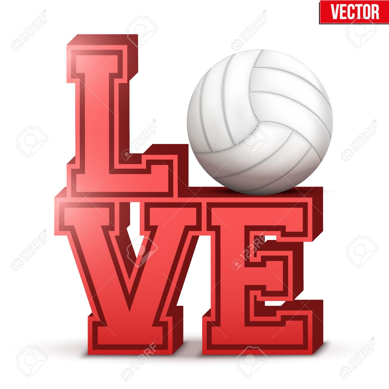 Letters Forming Word Love With Volleyball Ball Vector Illustration
