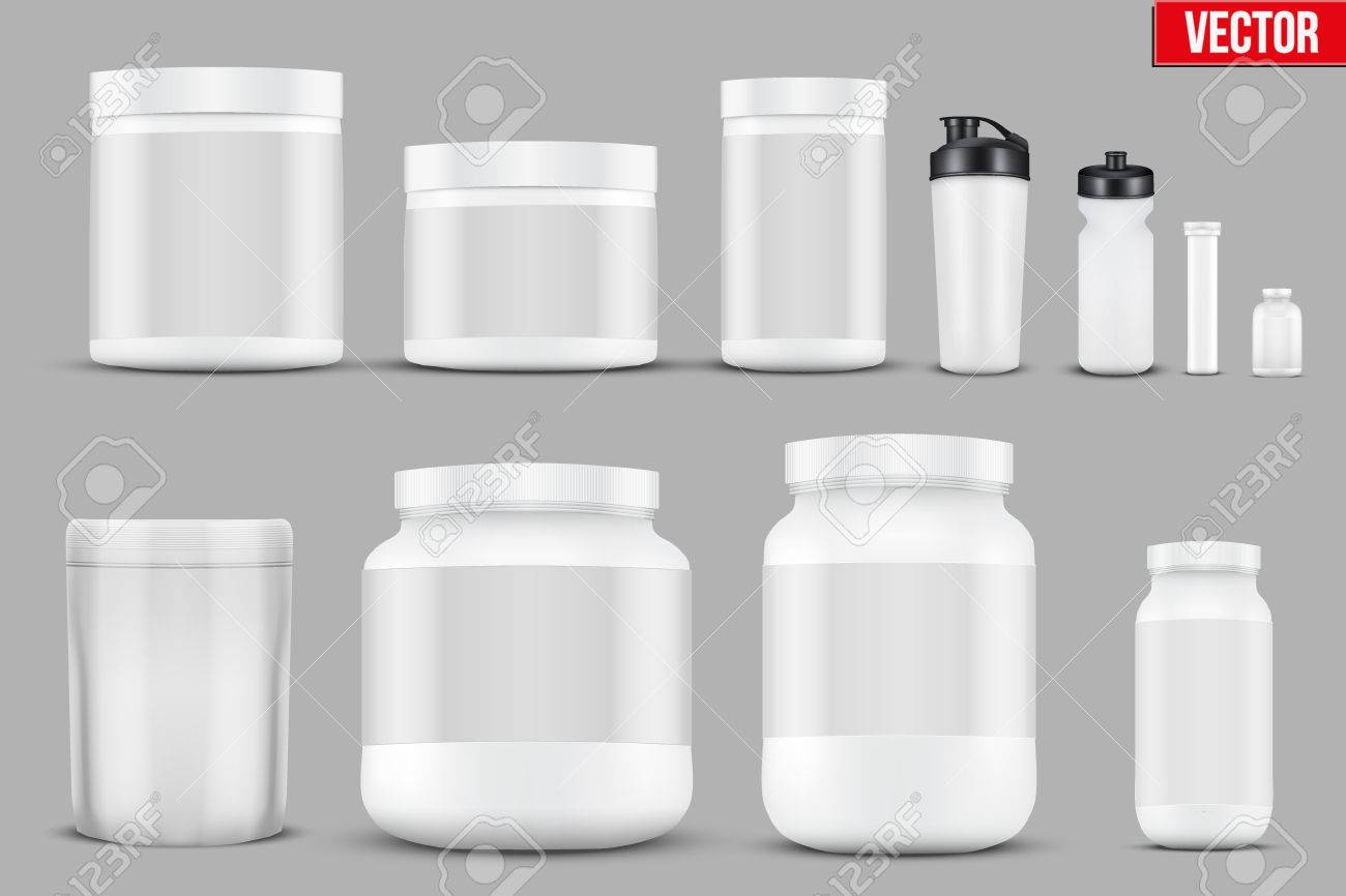 Set Mockup Sport Vitamin Containers Royalty Free Cliparts Vectors