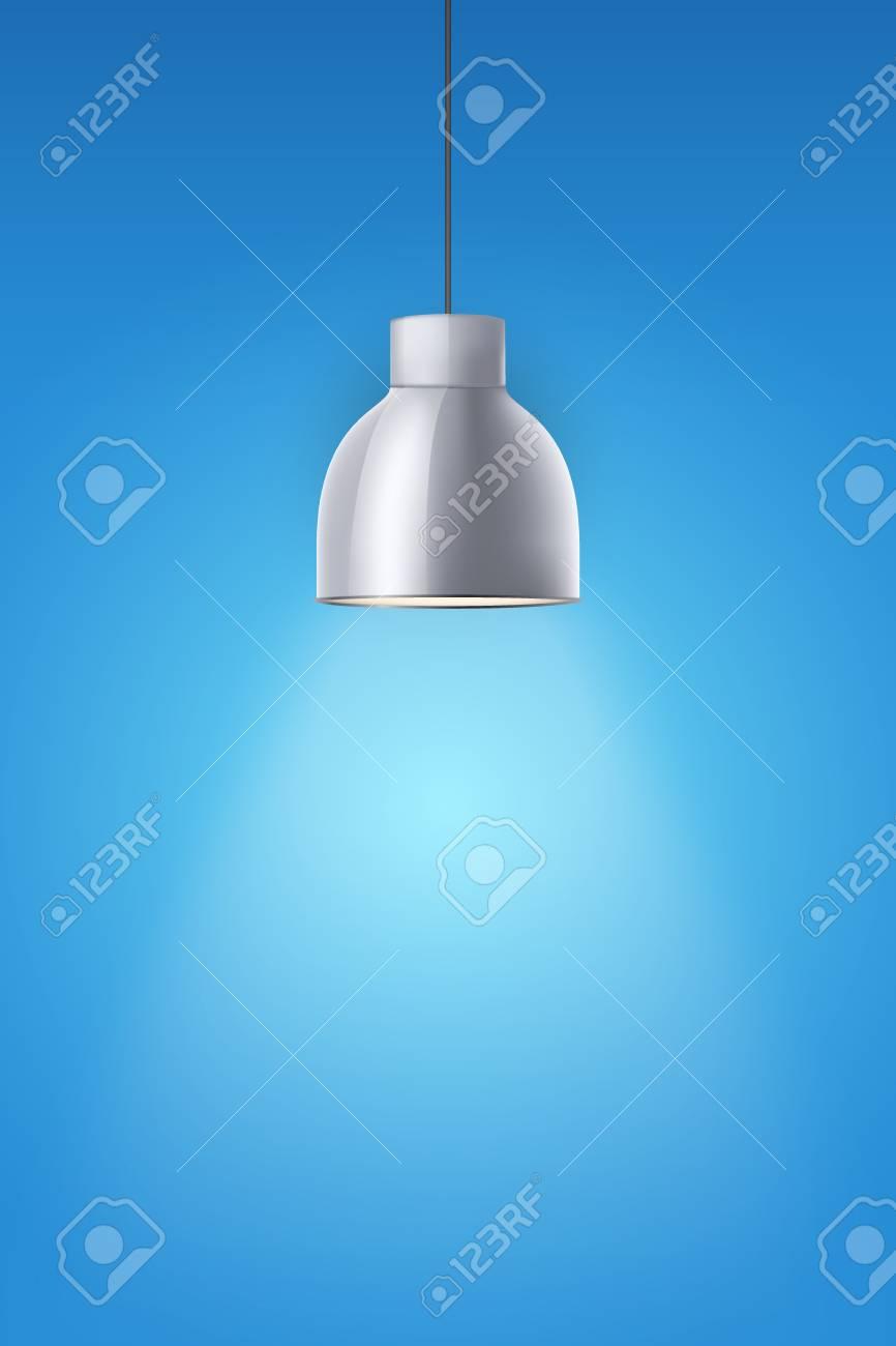 Lampe à Cône élégante En Chrome Vintage Sur Le Mur De Peinture Bleu Design Rétro Original Accrocher Le Modèle De Plafond Illustration Vectorielle