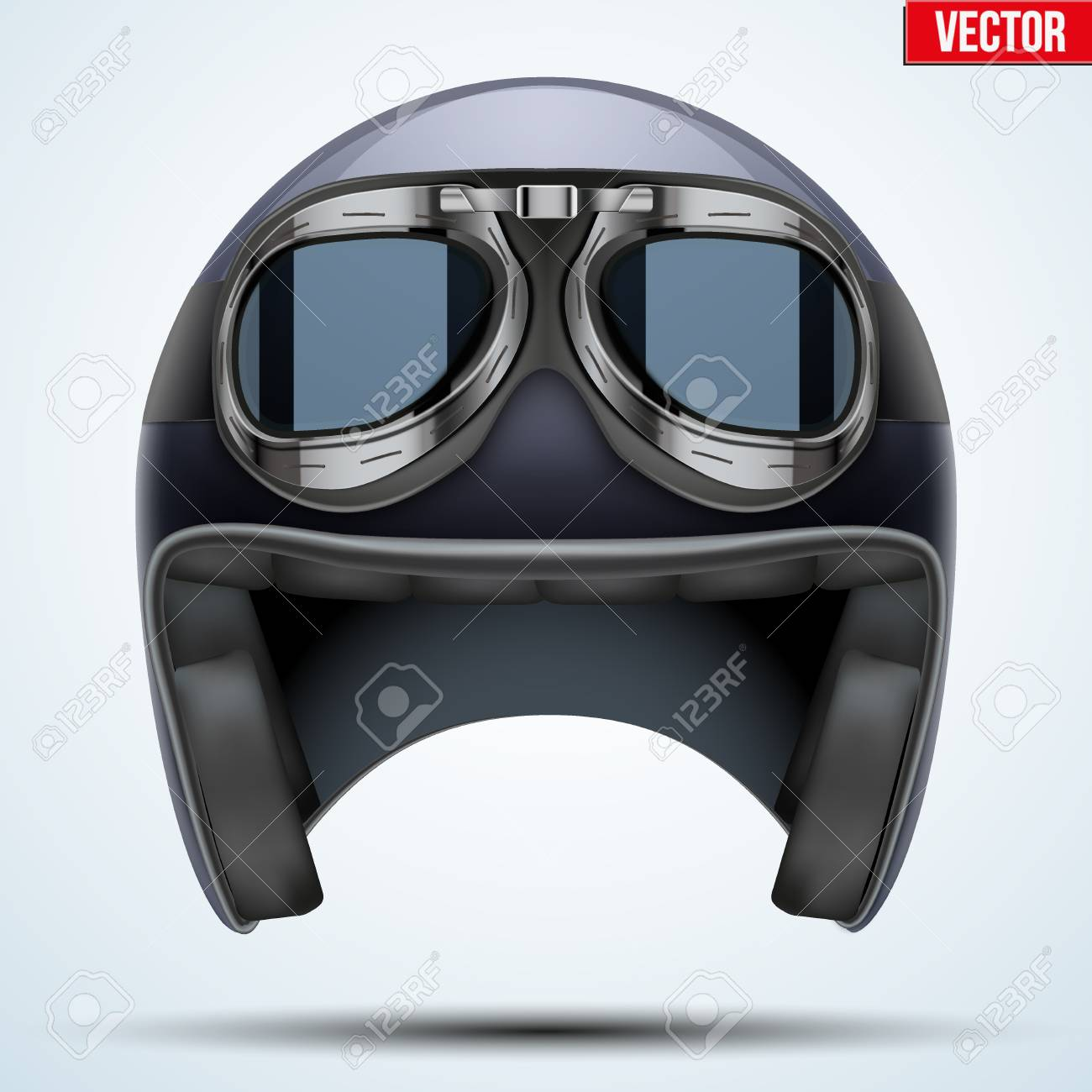 702e4cae65 Vector - Vintage motorcycle classic helmet with goggles. Black color.  Transportation industry. Vector illustration isolated on background