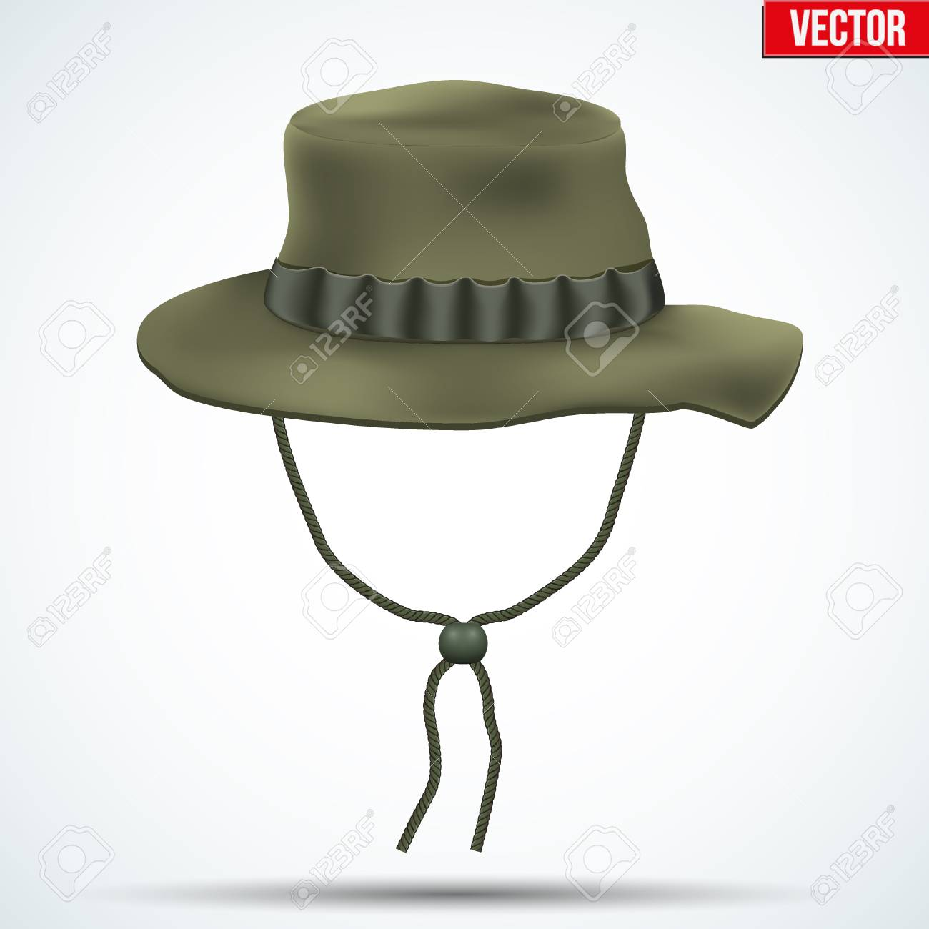 3779088979590 Classic military boonie hat with foliage ring. Olive color. Vector  Illustration isolated on background
