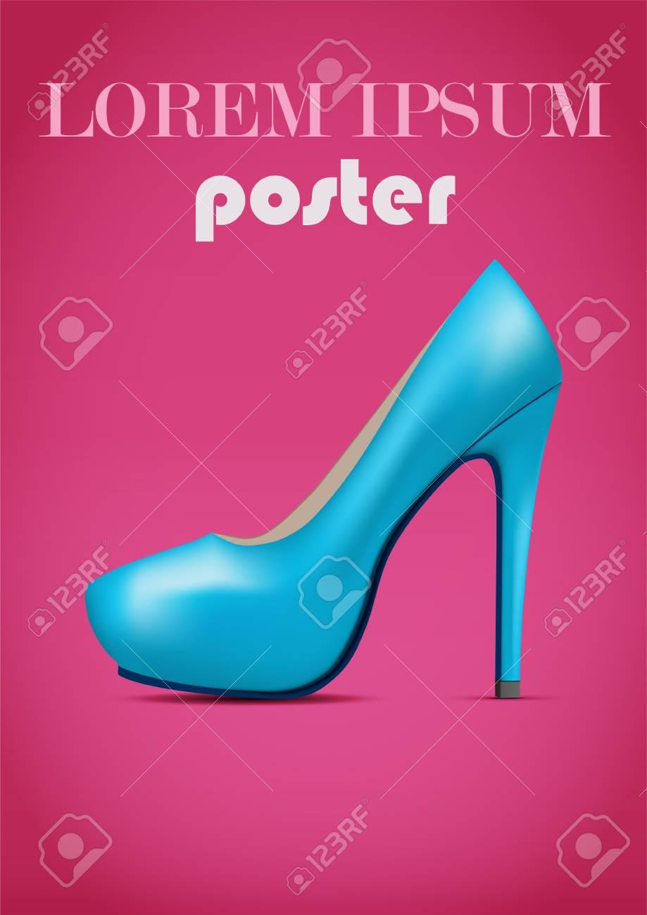 Zapatos Ilustración Tacón ModaHermoso RosaCartel Diseño Estilo Fondo Publicitario Vectorial Mujer De Con En Alto Sobre rtdhCsxoQB