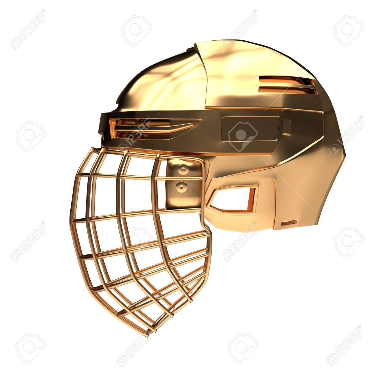 Golden Ice Hockey Helmet Side View Cup And Competition Equipment