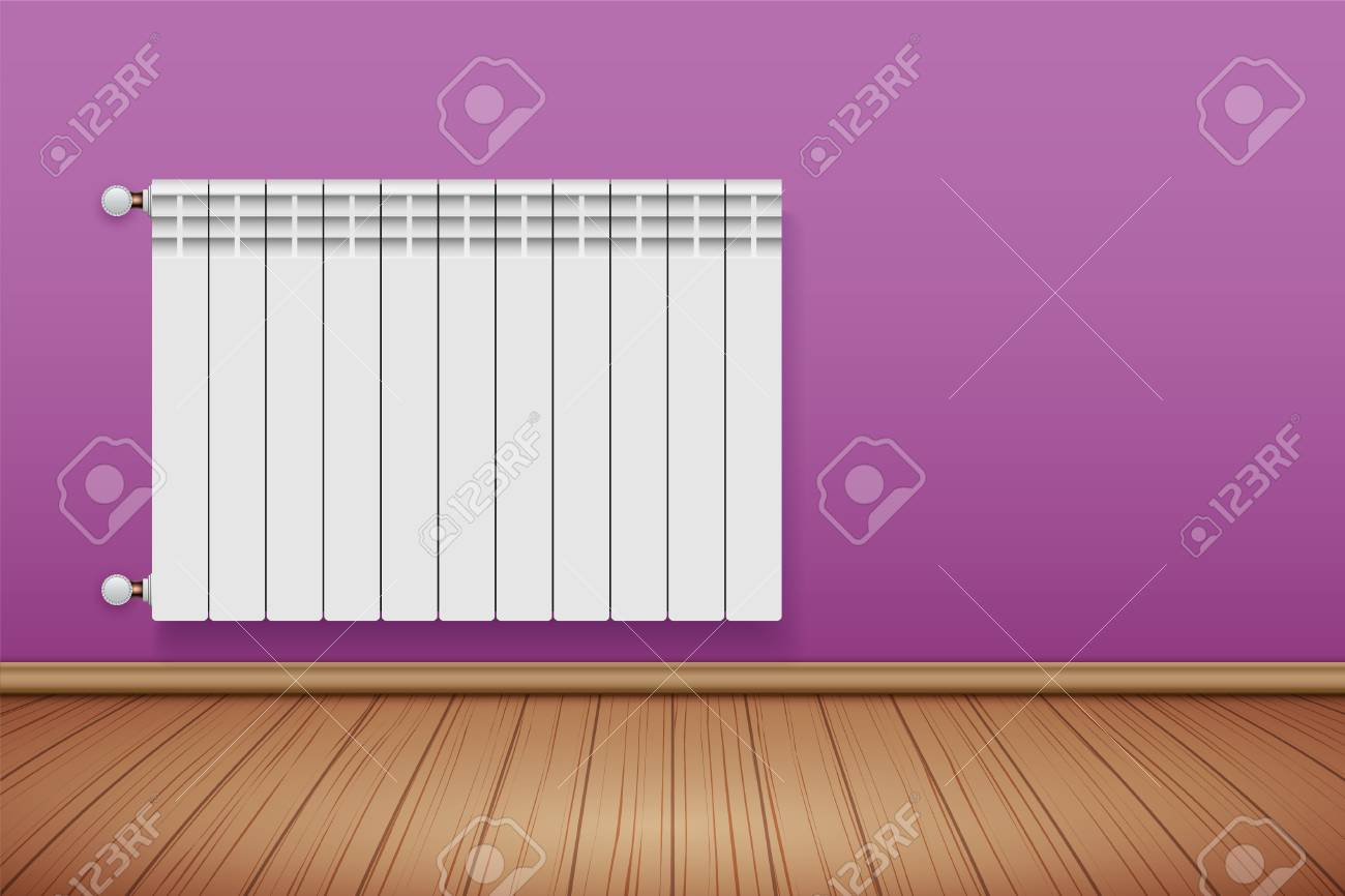 Metal Heating Radiator In Room. Modern Central Heating System ...