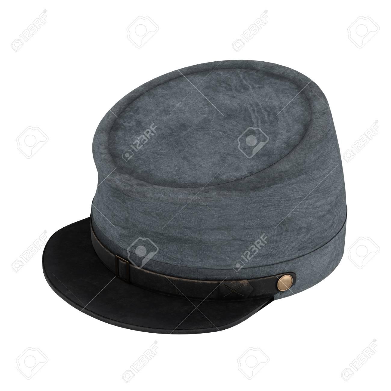 e10c530f377 Civil War Confederate Cavalry Hat. American Confederate Kepi. Perspective  view. 3D render Illustration