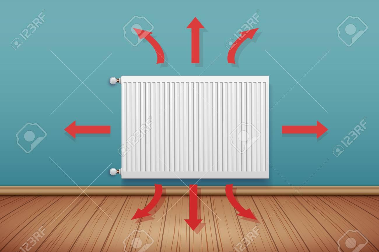 Heating Radiator With Scheme Of Heat Spreading In Room. Modern ...