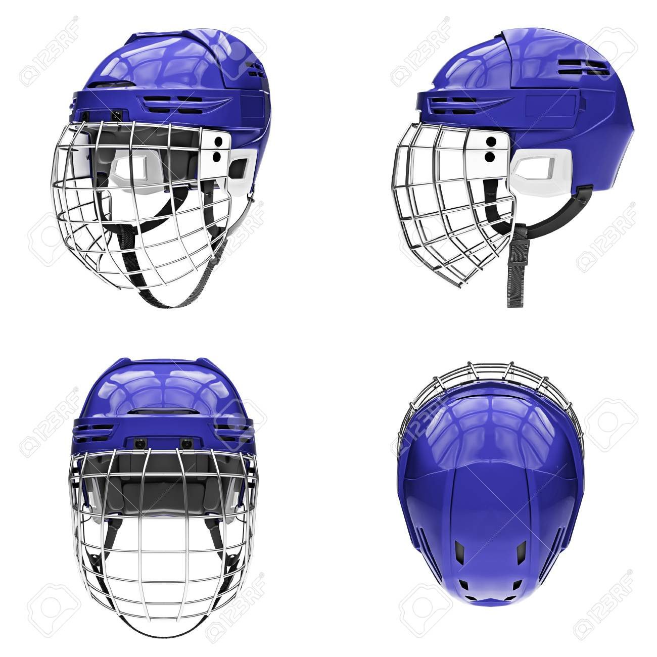 Set Of Classic Ice Hockey Helmets With Metal Facemask All Side