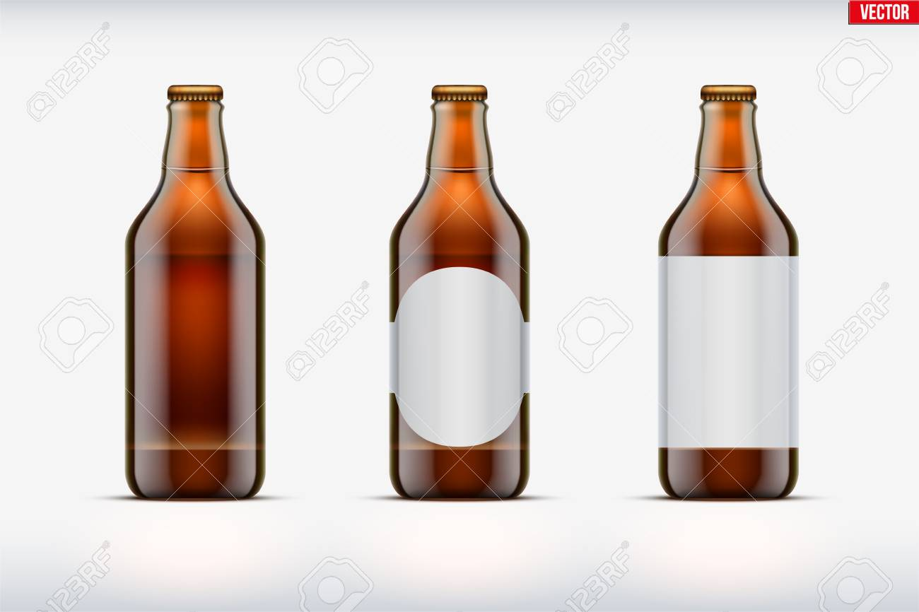 Mockup set of Craft beer bottle. Brown glass. Individual and home brewery. Handcrafted beer. Vector Illustration - 117746340
