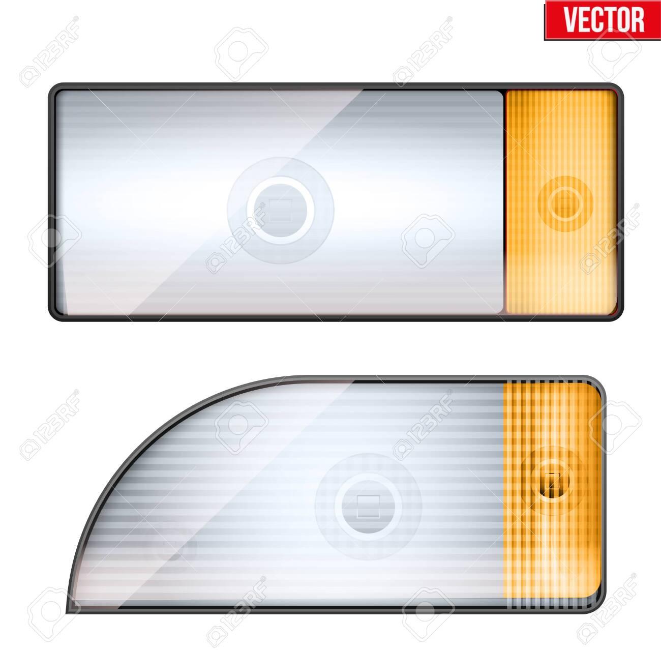 Rectangular car headlight and turn indicator  Glass case of frontlight