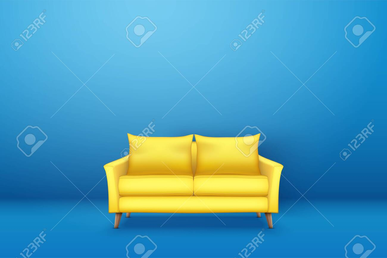 Sample interior scene with Modern yellow sofa on blue wall. Furniture..